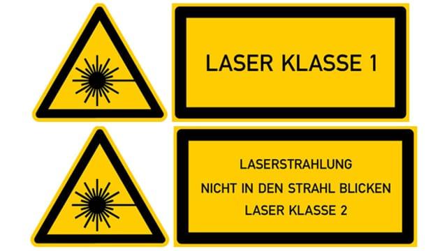Warnschilder für Laserprodukte