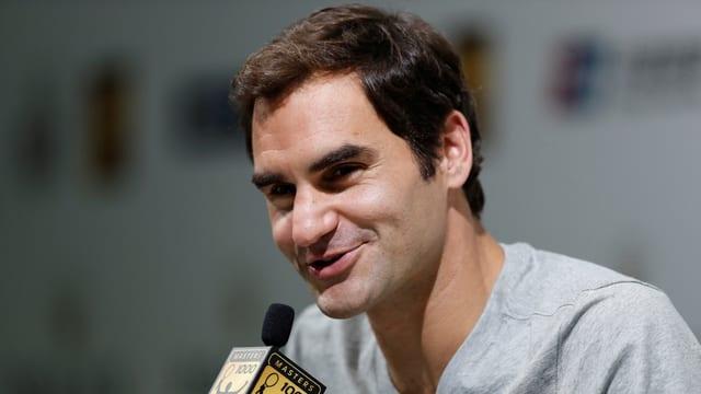 Roger Federer am Medientermin in Schanghai.