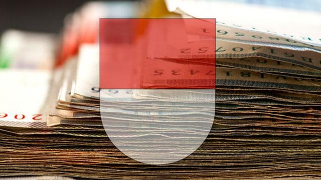 Ein Bündel Banknoten, davor das Solothurner Kantonswappen (Montage)
