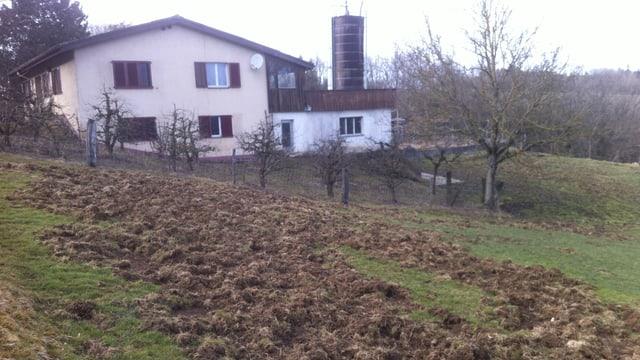 Umgepflügtes Feld, Haus im Hintergrund.