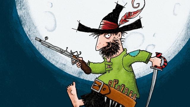 Zeichnung eines Räubers mit Bart, Hut und Pistole.