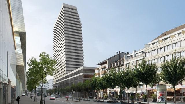 Projektbild des Claraturms der Architekten Morger und Dettli vom Riehenring aus.