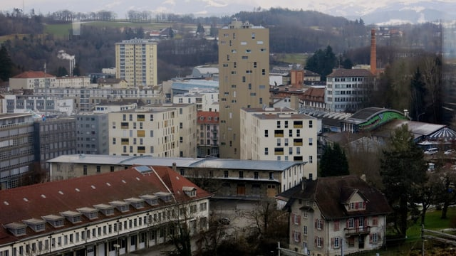Der Blick vom Cardinal-Turm auf das Freiburger Perolles-Quartier.