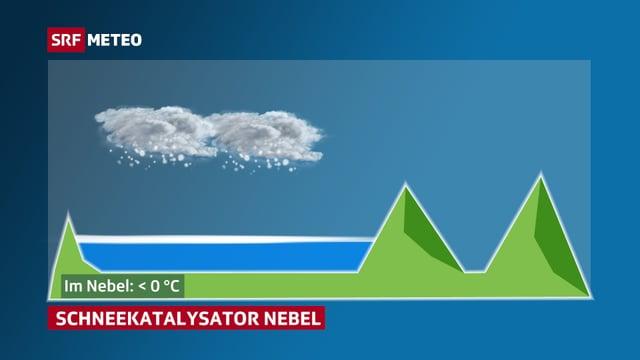 Die Grafik zeigt eine Nebelschicht im Mittelland, darüberhinaus Schneewolken.