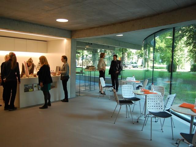 Der neue Anbau des Thun-Panoramas mit Museumsshop, Bistro und Ausstellungsraum.