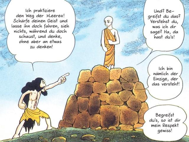 Buddha steht auf einem braunen Steinhaufen, ein empörter Schwarzhaariger beschimpft ihn.