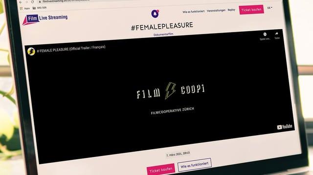 Computerbildschirm mit Filmcoopi Logo