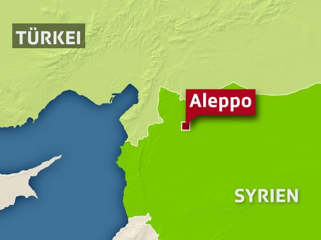 Kartenausschnitt von Syrien und der Türkei mit der Stadt Aleppo.