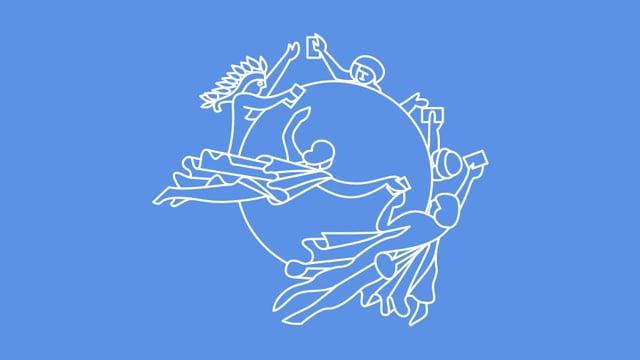 Ein Kreis, um den verschiedene Figuren Hand in Hand fliegen.