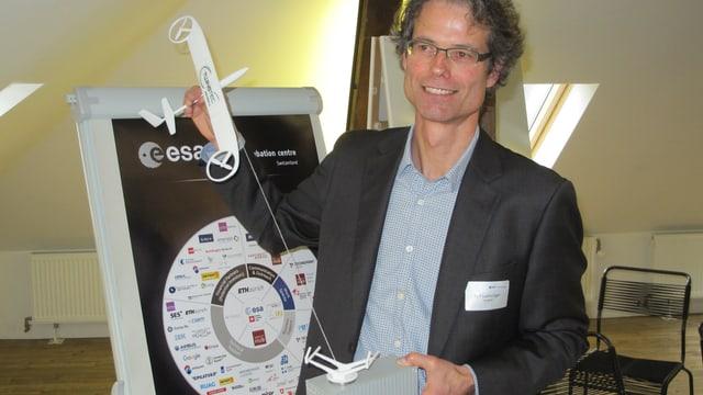 Rolf Luchsinger, Mitbegründer und Chef der Firma Twin Tec, mit einem Modell seines Flugwindkraftwerks.