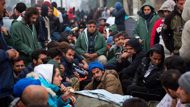 Gruppe von Migranten an der mazedonischen grenze