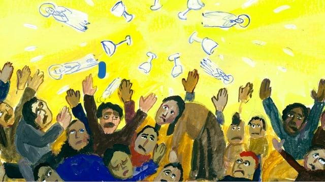 Illustration: Menschen schauen in den Himmel. Dort hat es Weingläser und Heilige.