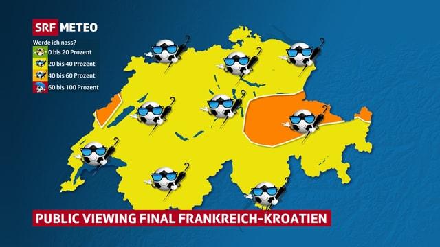 Schweizer Karte mit dargestellter Regenwahrscheinlichkeit.