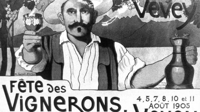 Schwarzweiss Plakat mit einem Mann, der ein Weinglas in die Luft hält.