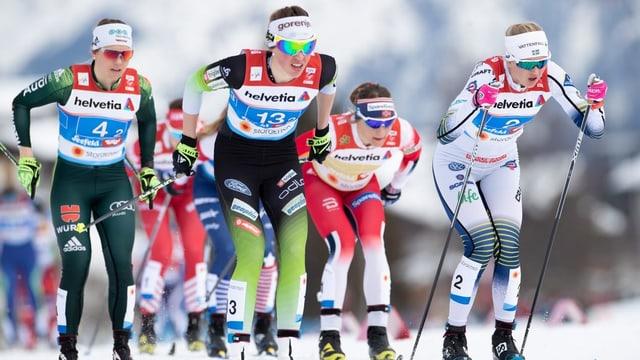 Da sanester: Sandra Ringwald (Germania), Annamarija Lampic (Slovenia), Maiken Caspersen Falla (Norvegia) e Maja Dahlqwist (Svezia).