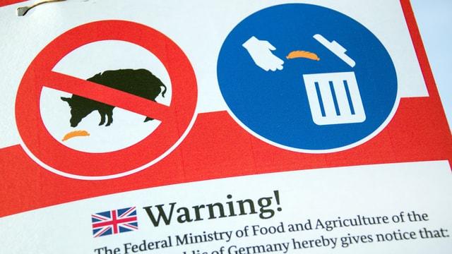 Ein Warnhinweis zur Verhinderung der Ausbreitung der Schweinepest.