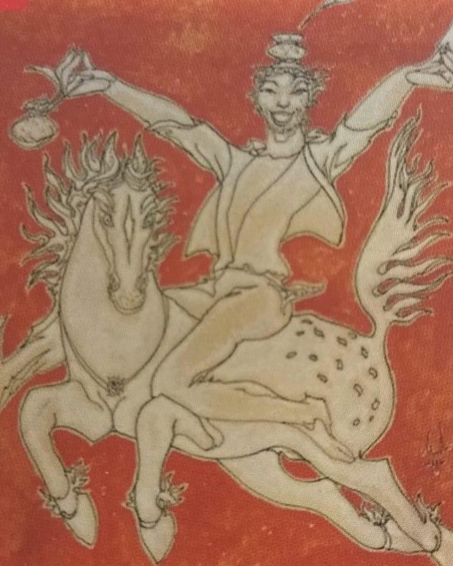 Gemälde mit einem Mann auf einem Pferd.