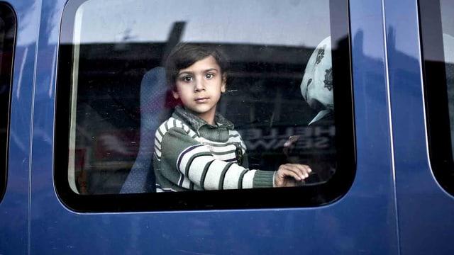 Ein Junge schaut aus einem blauen Bus.