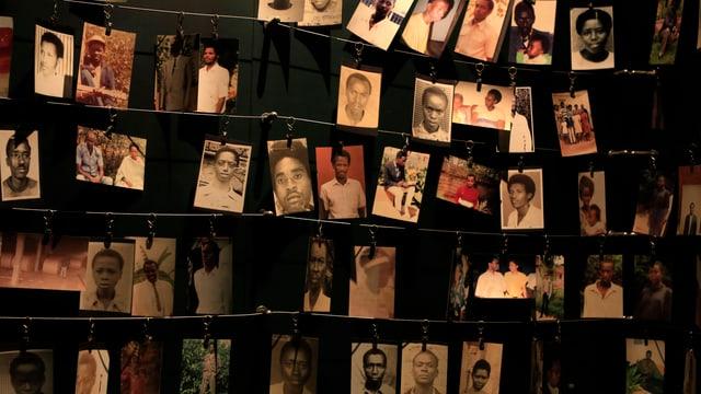 Dutzende Porträt-Fotos hängen an einer Wand.