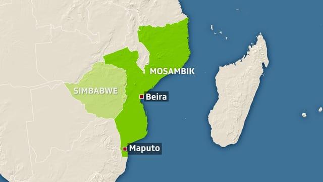 Karte von Mosambik und Simbabwe