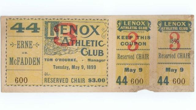 Eine Eintrittskarte für den Kampf von Frank Erne gegen Mc Fadden.