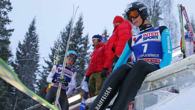 Luca Egloff vor dem Start eines Springens.