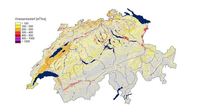Schweizer Landkarte mit lokal deklariertem Wasserverbrauch