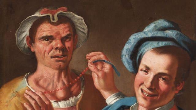 Ölgemälde eines Mannes in Frauenkleidung. Ein anderer Mann zieht ihm ein Kette an.