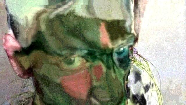 Ein Mann bewegt sich in seltsamen Bild-Folgen vor einer Grünpflanze.