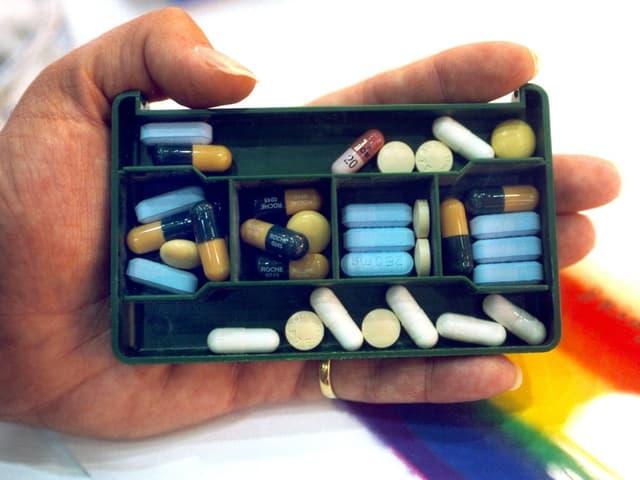 Pillenschachtel einer HIV-Infizierten.