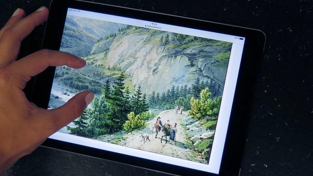 Zwei Finger zoomen auf einem Tablet in ein Landschaftsbild des 19. Jahrhunderts