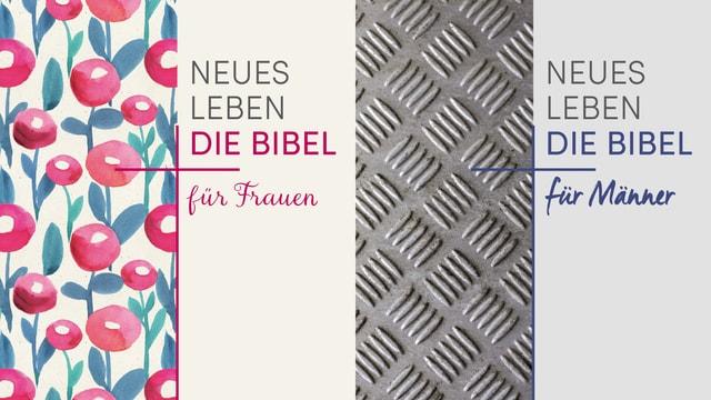 """Zwei Titelseiten von Büchern: """"Die Bibel für Frauen"""" und """"Die Bibel für Männer"""""""