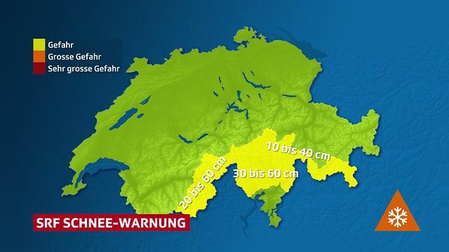 Schweizerkarte die Warnergionen für Schneefall zeigt