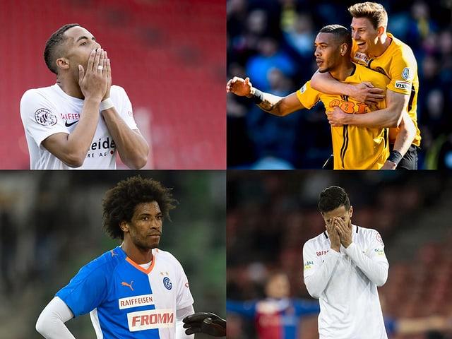 Spieler der Teams von Thun, YB, GC und FCZ.