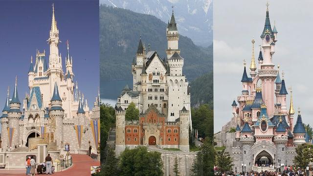 Das Disney-Schloss in den USA, Schloss Neuschwanstein und das Disney-Schloss in Paris.