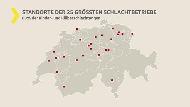 Schweizerkarte mit Schlachthöfen eingezeichnet.