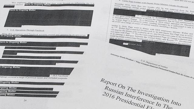 Schwarz übermalte Passagen des Mueller-Berichts