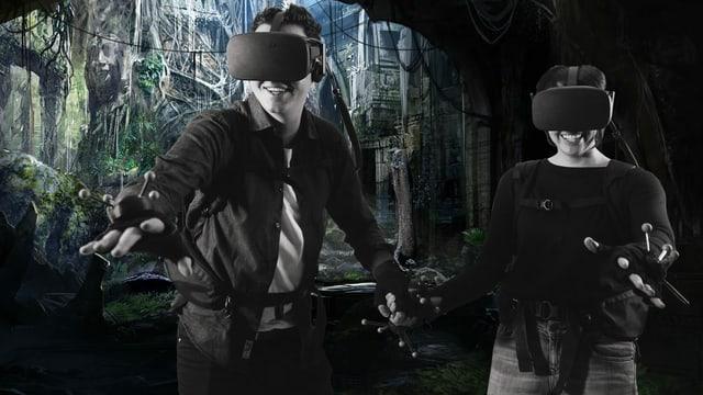 Ein Spieler und eine Spielerin mit der Virtual Reality Ausrüstung