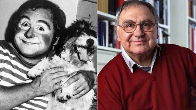 Zwei Aufnahmen von Jörg Schneider: In schwarzweiss als Clown geschminkt und mit Hund. Und ein farbiges Bild im roten Pulli.