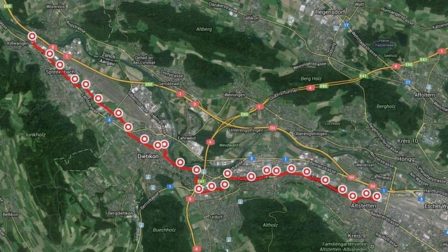 Linienführung der geplanten Limmattalbahn