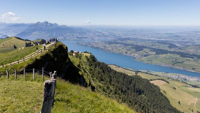 Der Blick von einer grünen Wiese über einen See in die Berge.