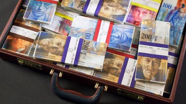 Koffer voller Bündel Schweizer Franken.