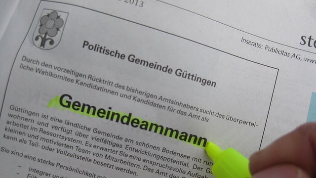 Das Inserat der Gemeinde Güttingen: Gemeindeammann gesucht.