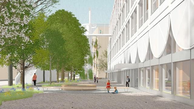 Visualisierung des geplanten Schulhauses Allmend: Ein lichtdurchbluteter Bau.
