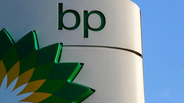 BP-Logo an einer Tankstelle, im Hintergrund Himmel