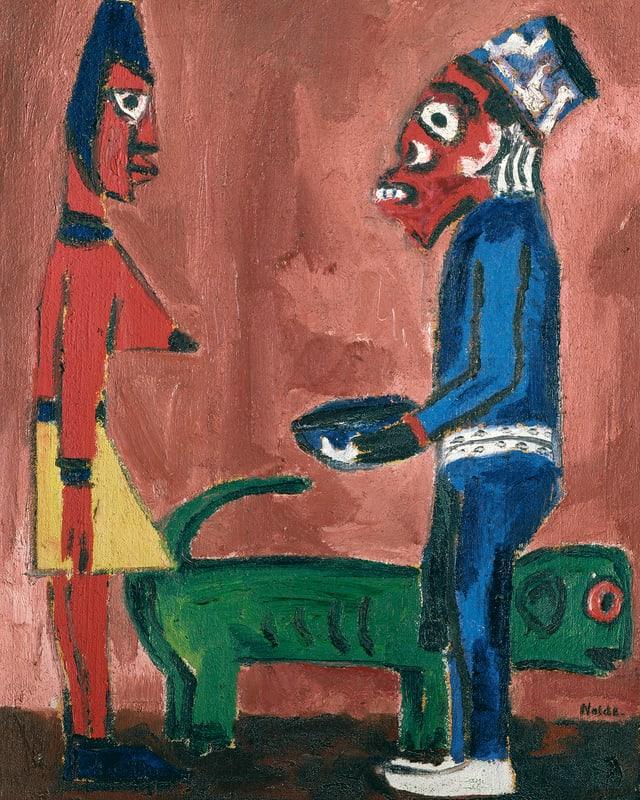Ein Gemälde: zwei Gestalten stehen vor einem roten Hintergrund.