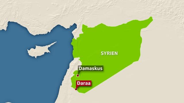 Syrienkarte. Darauf ist Damaskus und Daraa eingezeichnet ist.