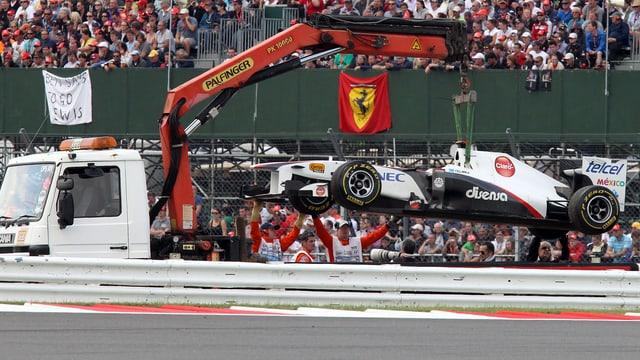 Für Saubers Kamui Kobayashi war der GP Silverstone 2012 vorzeitig zu Ende.
