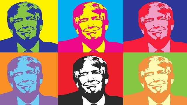 Trump in sechsfacher grafischer und bunter Ausführung