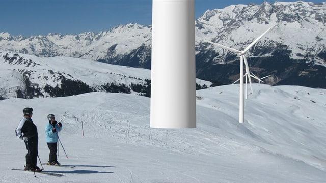Visualisaziun da las rodas da vent sin il terrotori da skis da Sursaissa/Lumnezia.